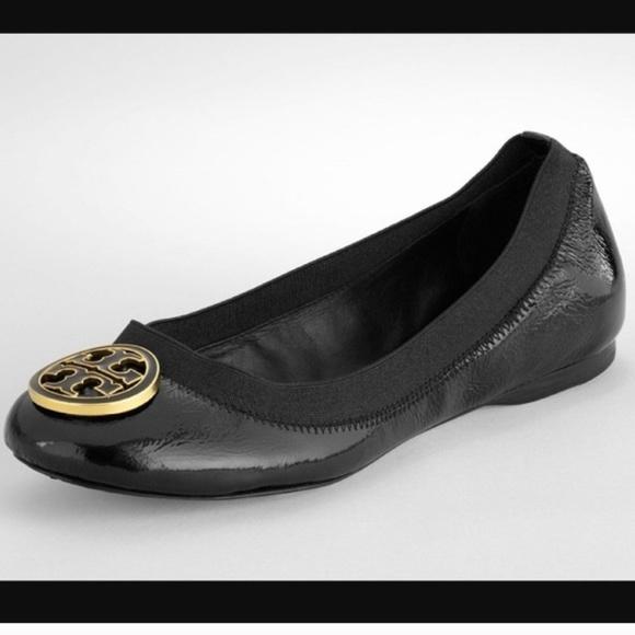 a2d175bf93a7f Tory Burch Caroline Black Patent Ballet Flats 7.5